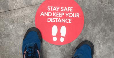 Social distance flooring stickers.Social distance flooring stickers.