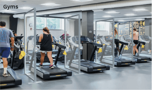 Covid-19 screens for gyms.