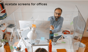 Covid-19 acetate screens for offices.